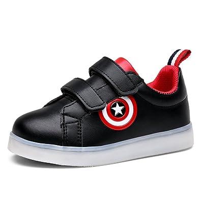 12494bb146 Amazon.com | Kids LED Trainers Shoes Light Up USB Designer Sneakers Flats  for Boys Girls Toddler(Black 28 EU/11 M US Little Kid) | Running