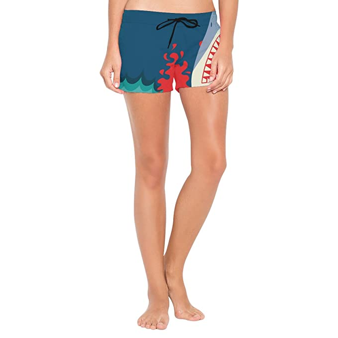 7f63c0b11f Image Unavailable. Image not available for. Color: LORVIES Women Shark Jaws  Poster Background Board Shorts ...