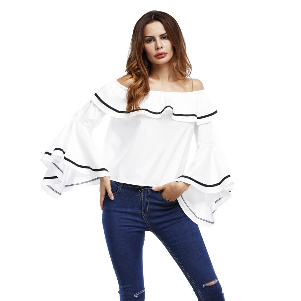 Womens Off Shouder Long Sleeve T-Shirts Ladies Sweet Ruffles Loose Blouses Tops