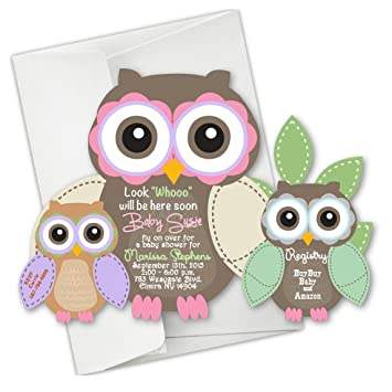 Amazon owl baby shower invitations first birthday invitation owl baby shower invitations first birthday invitation die cut qty 25 filmwisefo