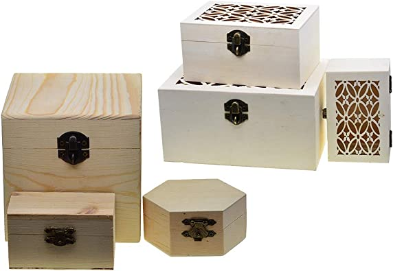 freneci 6pcs Caja De Almacenamiento De Caja De Regalo De Madera Sin Terminar para Manualidades De Bricolaje: Amazon.es: Joyería