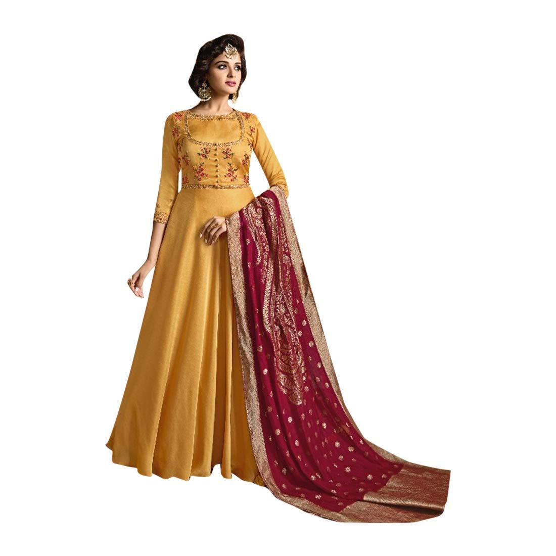 Mustard Indian Ethnic Designer Linen Satin Semistitched Anarkali Suit Women Muslim Evening dress Bespoke 7813