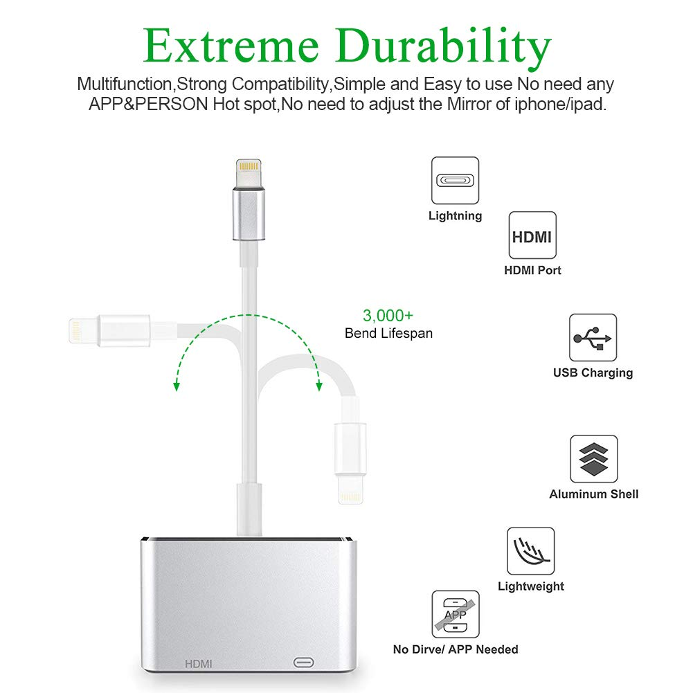 Acetend 2019 Latest Version 4 in 1 Plug and Play Digtal AV Adapter for iPhone X 8 Silver 8Plus//7//7Plus//6//6s//6s Plus//5//5s iPad iPod to Projector HDTV HDMI VGA AV Adapter Converter