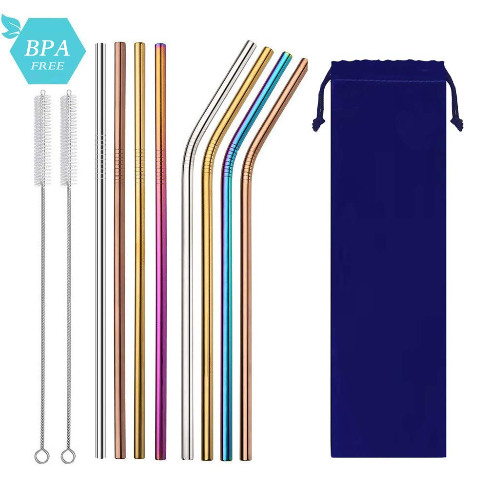 Metal Drinking Straws, Reusable Stainless Steel with Straws Pouch and Clean Brushes for 20 30 OZ Yeti Tumbler, RTIC, Tervis, Ozark Trail, Starbucks, Mason Jar(4 Various Colors)