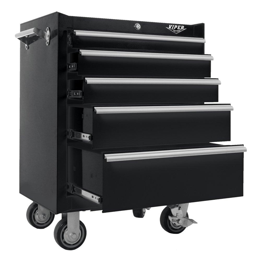 Viper Tool Storage V2605BLR 26-Inch 5-Drawer 18G Steel Rolling Cabinet, Black