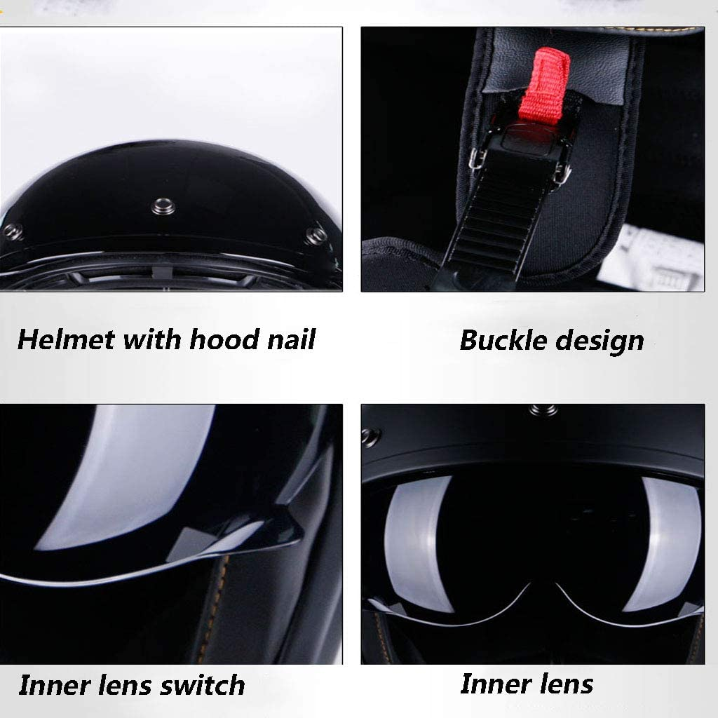 WANGJ-Chaise Casque Moto Modulable Demi-Casque D.O.T Certified Open Face Helmet Scooter Motorcycle Moto Crash Helmet with Goggles Visor Scarf Biker Scooter Touring Black