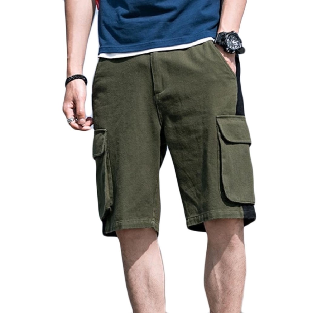 Comfy-Men Big Pockets Cargo Pants Casual Summer Comfort Camouflage Shorts Green M