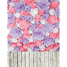 Colorful Paper Flowers Background Purple White Pink Handmade Rose Floral Photo Backdrop for Wedding or Birthday Party Photography Studio Wallpaper with Wooden Floor 5×7 ft