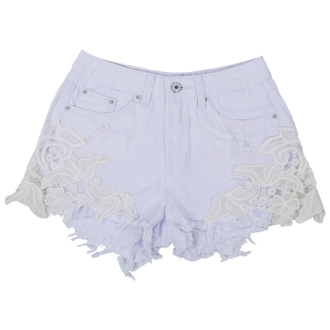 61696abb25c Woman's sexy lace Shorts Jeans - TOOGOO(R)Woman's New sexy lace patchwork pants  high waisted tassels ripped shorts jeans trousers, White L: Amazon.co.uk:  ...