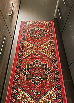 Custom Size RED Persian Medallion Rubber Backed Non-Slip Hallway Stair Runner Rug Carpet 22 or 31 Inch Wide Choose Your Length