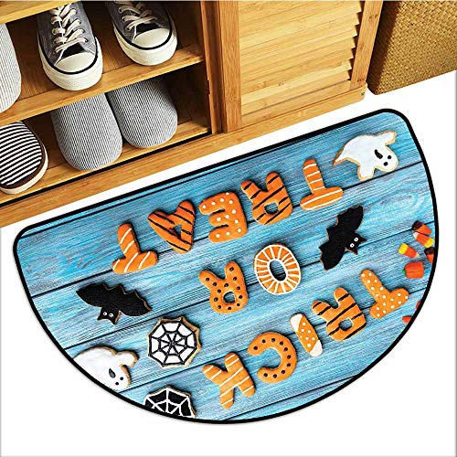Interior Door mat Vintage Halloween Trick or Treat Cookie Wooden Table Ghost Bat Web Halloween Personality W36 xL24 Blue Amber Multicolor]()