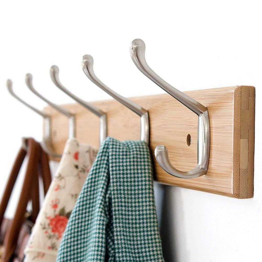 5 hooks Log color DYR Solid Wood Coat Hooks Hook Up White Logs color 3 Hooks 4 Hooks 5 Hooks 6 Hooks 7 Hooks 8 Hooks Stable and Durable (color  color Log, Size  7 Hooks)