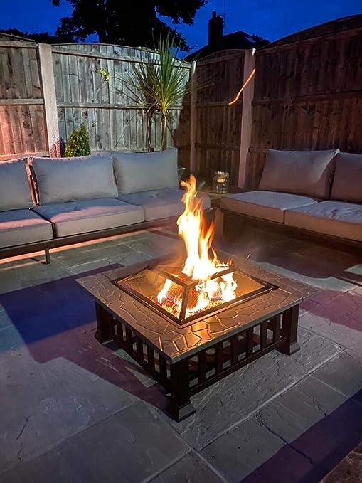 CGC - Mesa de hoguera cuadrada para exteriores, jardín, patio, barbacoa, cubitera de hielo: Amazon.es: Jardín