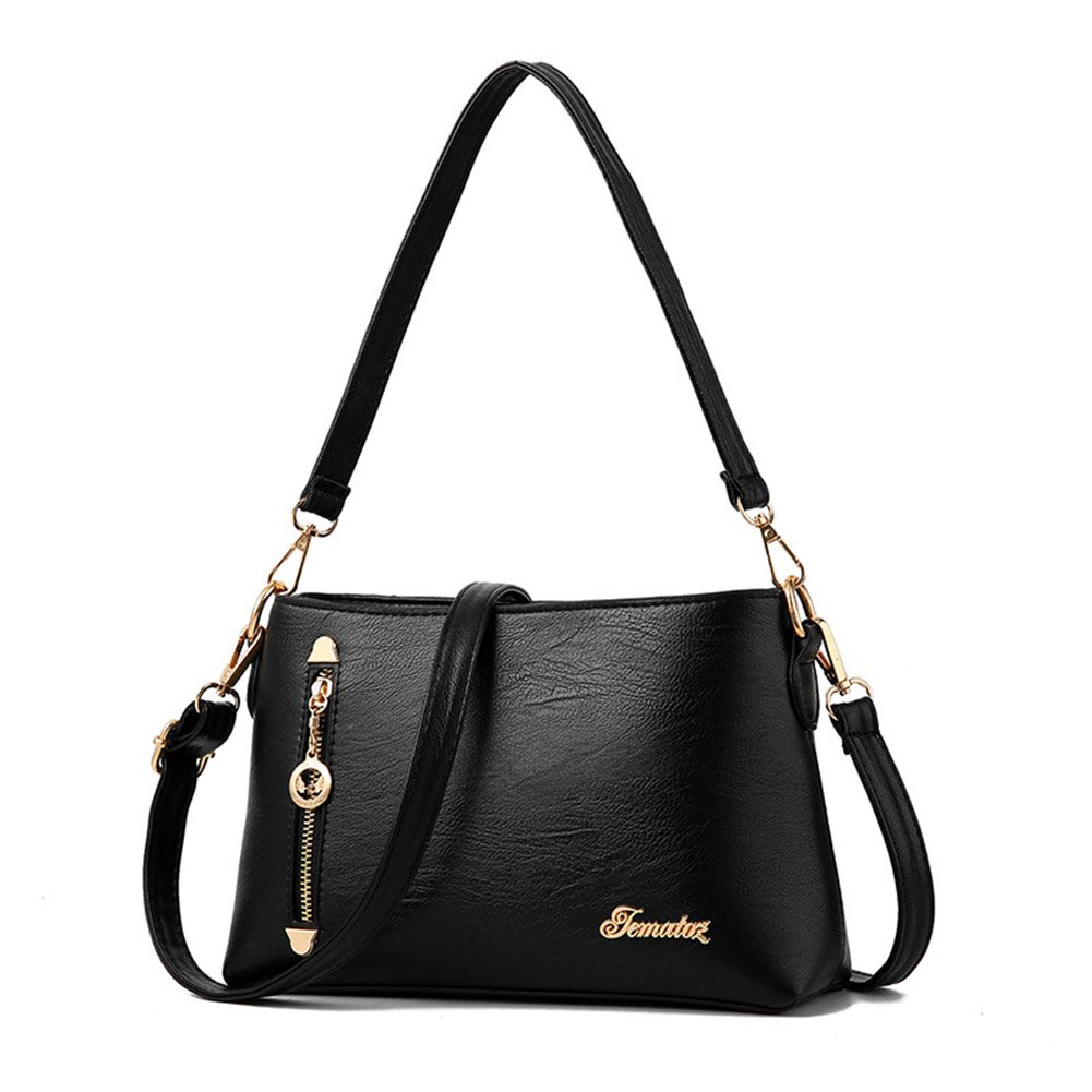 Turelifes Shoulder Bags for Women Soft Leather Handbags Mother Crossbody Bags Multi Pockets Purse (Black)