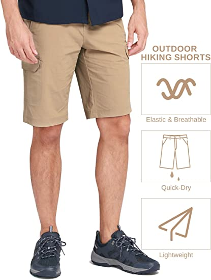 Amazon coupon code for Mens Cargo Shorts Lightweight Elastic Waist Belted Pockets