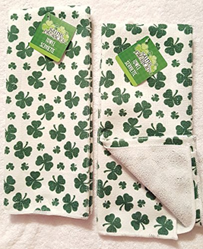 St. Patrick's Day Shamrock Hand Towels, Set of 2