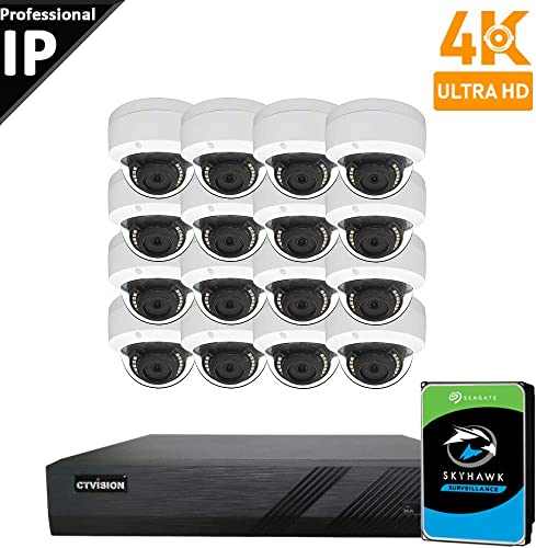 CTVISION UltraHD 4K 8MP 4X1080P Home Business Security Camera Systems,16-Channel PoE Video Security System 4TB HDD ,16pc Outdoor Weatherproof Nightvision 90 Viewing Angle Turret Dome PoE IP Camera