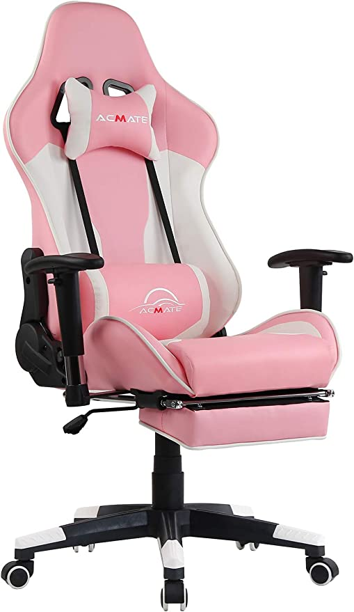Amazon Com Acmate Girl Gaming Chair Massage Gaming Computer Chair With Footrest Reclining Home Office Chair Racing Style Gamer Chair High Back Gaming Desk Chair With Headrest And Lumbar Support Pink White Kitchen Dining