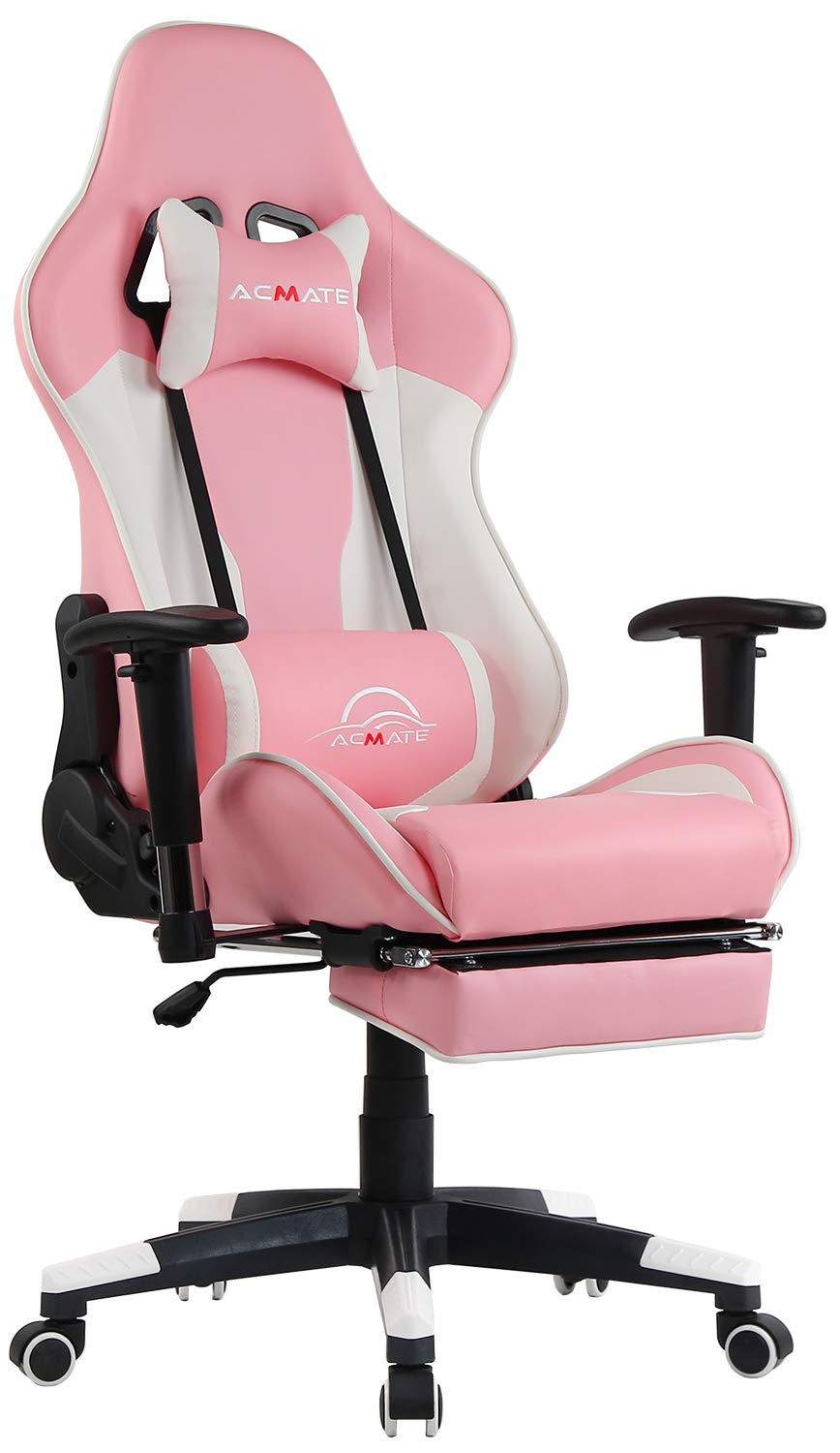 Acmate Girl Gaming Chair Massage Gaming Computer Chair with Footrest Reclining Home Office Chair Racing Style Gamer Chair High Back Gaming Desk Chair with Headrest and Lumbar Support(Pink/White) by ACMATE