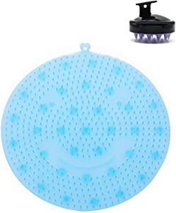 2 in 1 Silicone Feet Cleaner,Shower Foot Massager Scrubber with Hair Scalp Massager Shampoo Brush - Improves Foot Circulation, Relieve Tired and Pain, Anti-Slip, Lathers Well (Blue)