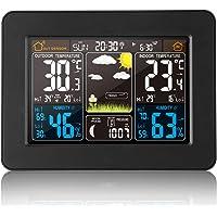 VORRINC Station météo sans Fil avec capteur extérieur - Fonction réveil - Température baromètre - Alarme - Humidité de la Lune - Horloge