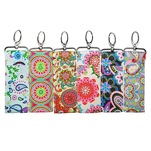 Lip Balm/Chapstick Holder with Clip - Pack of 6 Fun Vibrant Colors (Paisley Mix) Chapstick Holder