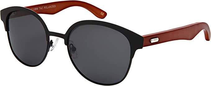 Classic Series | Smoke Polarized Genuine Bamboo Wood Horn Rimmed Sunglasses and Case