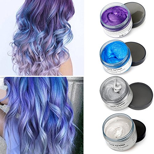 MOFAJANG Temporary Hair Color Wax,4 Colors - White, Sliver, Blue, Purple, Fun and Effective Modeling Fashion DIY Hair -