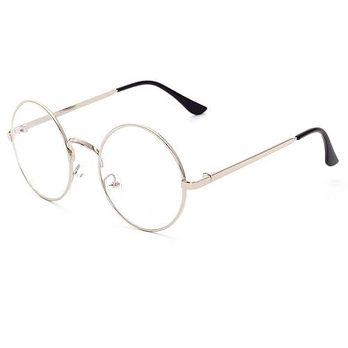 CVOO Unisex Vintage Round Metal Glasses Frame Women/Men Optical Glasses