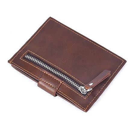 Cartera de Piel,Paquete de Tarjeta de Licencia de Conducir de Billetera Corta para Hombre,Carteras Hombre Cuero,RFID Bloqueo,Gran Capacidad Multiuso ...