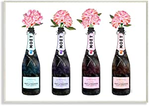 The Stupell Home Décor Collection Black Pink Purple and Blue Champagne Bottles with Peonies Wall Plaque Art, 13 x 19, Multi-Color
