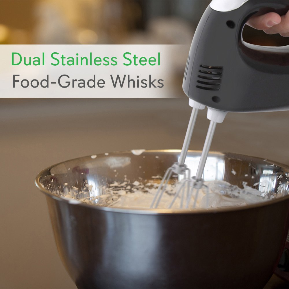 Cordless Electric Kitchen Hand Mixer - Portable Handheld Rechargeable Stainless Steel Whisk Machine with 3 Speed Settings - for Egg, Cake, Dough, Glue Pudding, Bread, Cookies - NutriChef PKHNDMX32 by NutriChef (Image #4)