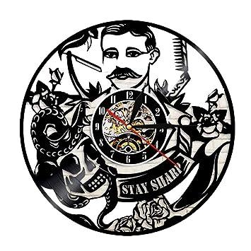WANGXN Reloj De Pared De Vinilo Barbería Bar Casa Corte De Pelo Decoración De Pared Relojes De Pared,Black,30CM: Amazon.es: Hogar