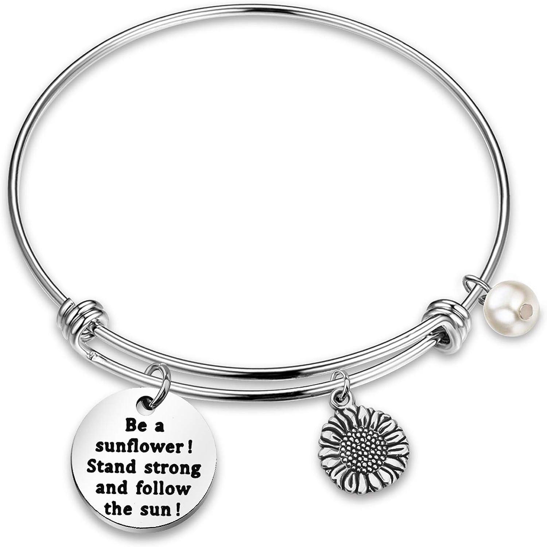AZFEIYA Sunflower Charm Bracelet Sunflower Keychain I Want to be Like a Sunflower Floral Jewelry