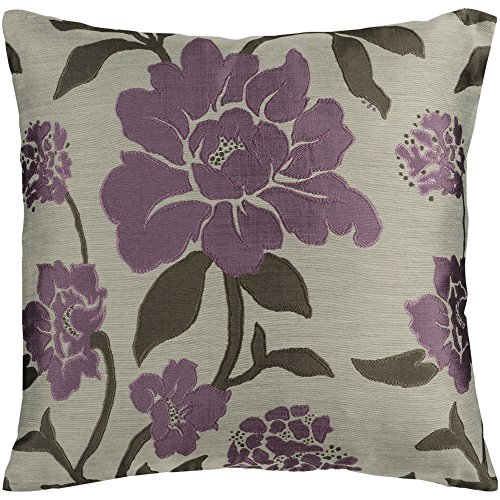 Surya HH-048 Hand Crafted 88 Polyester 12 Polyamide Plum 18 x 18 Floral Decorative Pillow