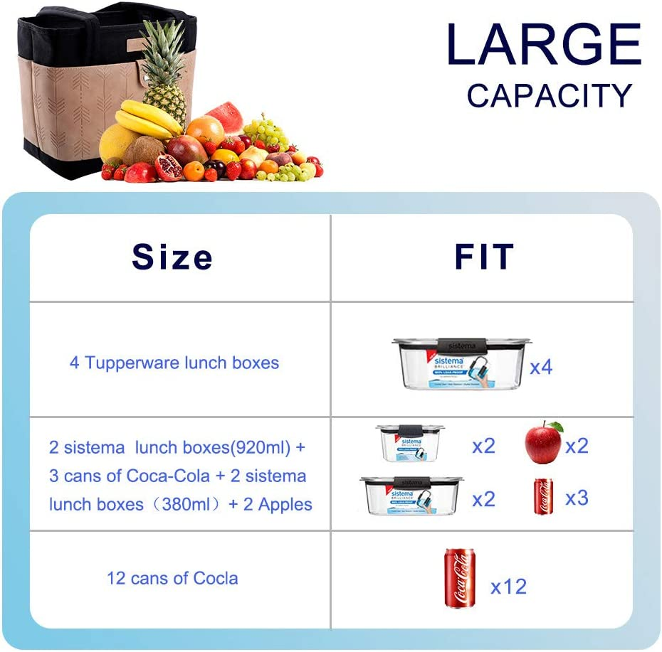 11L Lekesky Insulated Lunch Bag for Women Cooler Bag Lunch Tote Leakproof Lunch Organizer for Adults