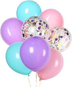 Unicorn Balloons Light Pink Blue Purple Assorted Balloons 12 inches Latex Balloon and Confetti Balloons for Baby Shower Bridal Shower Unicorn Birthday Party Supplies