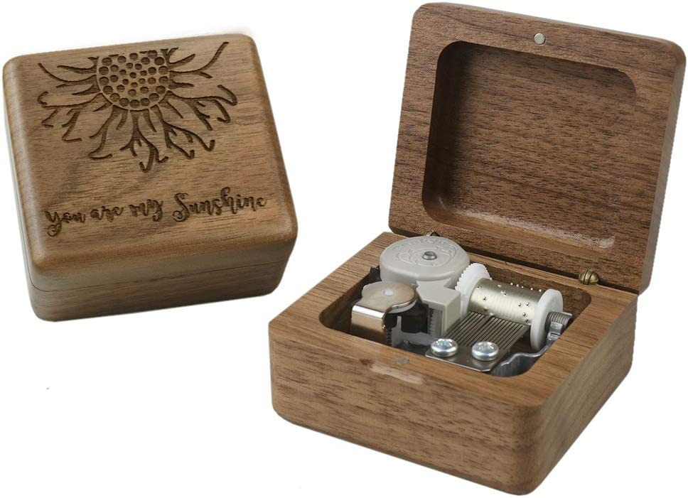 Sinzyo You are My Sunshine Music Box Walnut Wood Gift for Christmas,Birthday,Valentine's Day,Best Gift for Kids,Friends