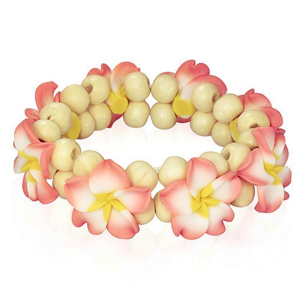 Fashion Alloy Polymer Clay Hawaiian Flowers Beaded Stretch Bracelet by My Daily Styles