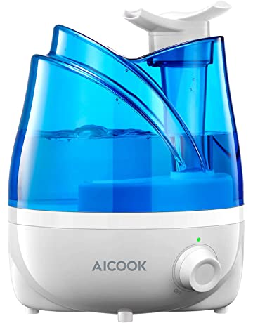 Humidificador Aicook, Humidificadores Ultrasónicos de 2L para el Dormitorio del Bebé, Boquillas Dobles Rotativas