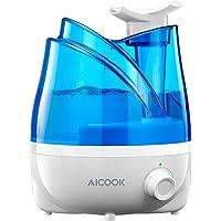 Humidificador Aicook, Humidificadores Ultrasónicos de 2L para el Dormitorio del Bebé, Boquillas Dobles Rotativas de 360 °, de Tiempo de Trabajo de 10-24 horas, Cierre Automático