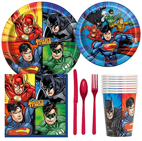 Justice League Superhero Birthday Party Supplies Pack Including Cake & Lunch Plates, Cutlery, Cups & Napkins for 8 Guests]()