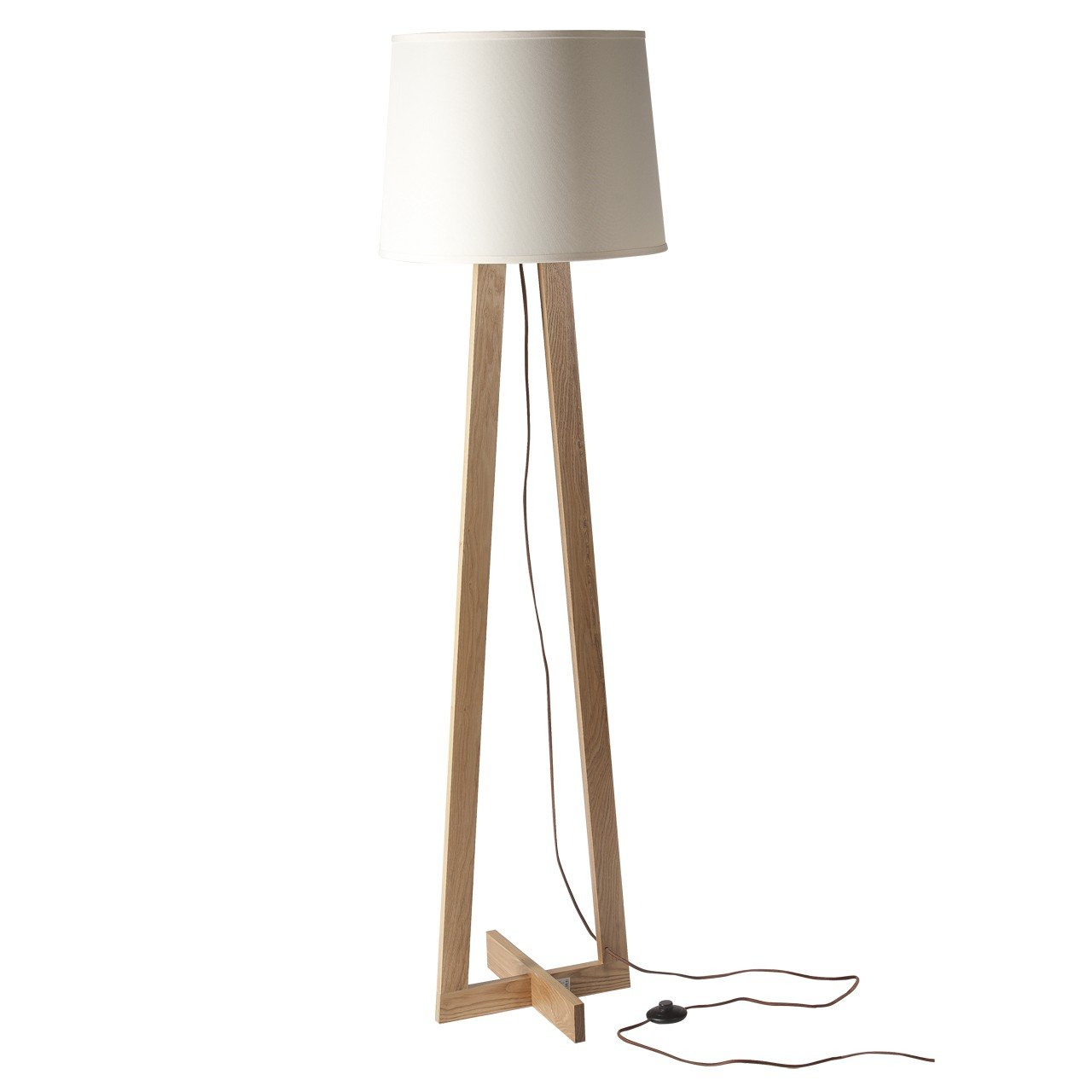 Retro Torchier With Wooden Legs White Shade 1 Bulb E27 1x60w 230v
