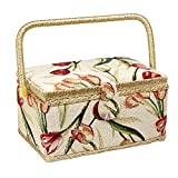 Sewing Basket with Tulip Floral Print Design- Sewing Kit Storage Box with Removable Tray, Built-In Pin Cushion and Interior Pocket - Medium - 11'' x 7'' x 5.5'' - by Adolfo Design