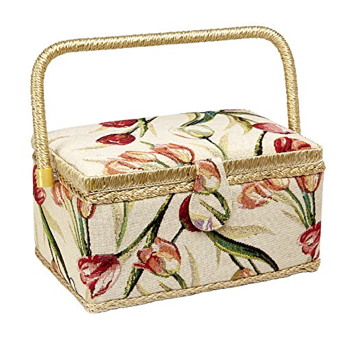 Sewing Basket with Tulip Floral Print Design- Sewing Kit Storage Box with Removable Tray, Built-In Pin Cushion and Interior Pocket - Medium - 11'' x 7'' x 5.5'' - by Adolfo Design by Adolfo Design