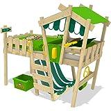 WICKEY Kinderbett CrAzY Hutty Hochbett Abenteuerbett inkl. Lattenboden - Apfelgrün-Grün