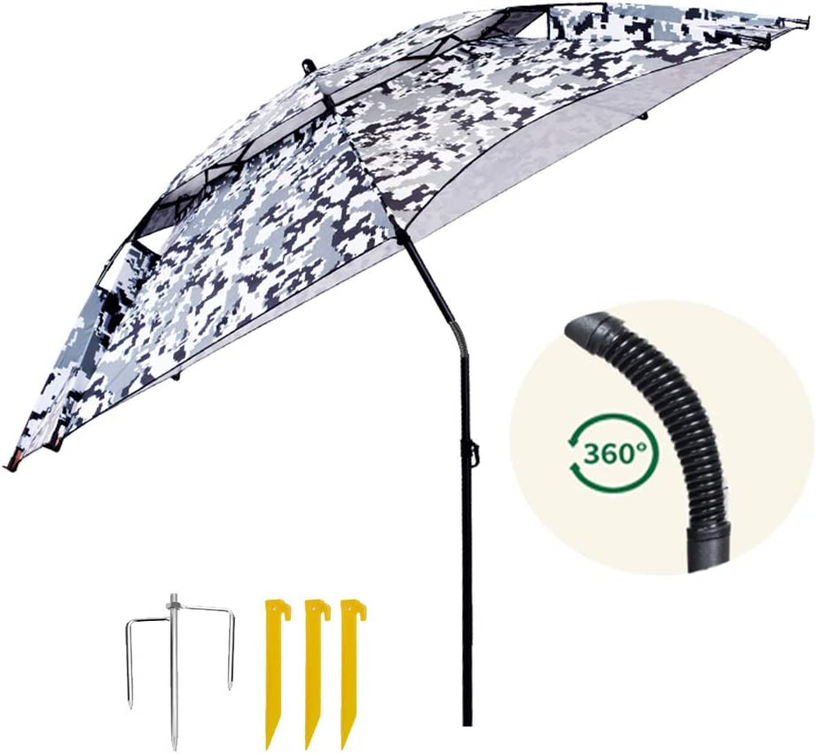 Parasol Sombrilla De Pesca Plegable De 2,2 M, Jardín Universal 360 ° Sombrilla Inclinable Impermeable para Patio Al Aire Libre, Playa De Césped, Color Camuflaje