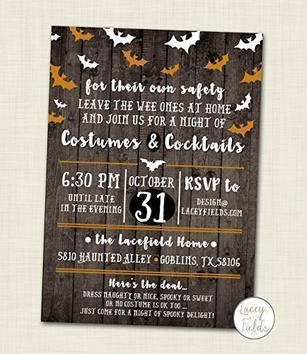 Costumes and Cocktails Halloween Party Invitation Set of 10 Adult halloween party invite