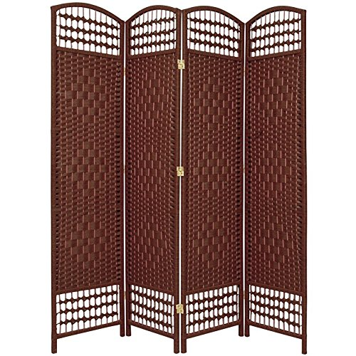 UPC 849527012741, Oriental Furniture 5 1/2 ft. Tall Fiber Weave Room Divider - DarkRed - 4 Panel