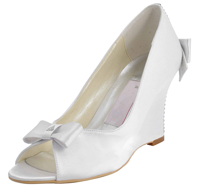ZHRUI ZHRUI femmes MZ543 Wedge Sandales de soirée en Satin à Talons Hauts (Couleuré   blanc-9cm Heel, Taille   5 UK)  magasins d'usine
